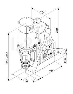 Схема размеров станка на магнитном основании BDS MAB 100 K