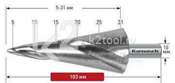 Коническое сверло Ø5-31 мм, HSS-XE, Karnasch, арт. 20.1473U