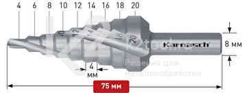 Ступенчатое сверло со спиралью (3 зубца) Karnasch, арт. 21.3005