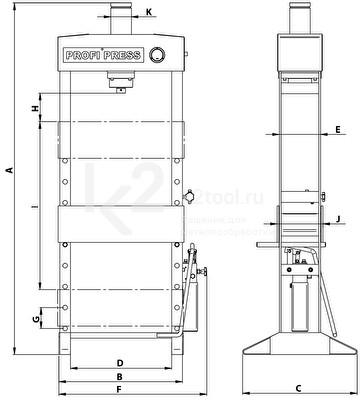 Гидравлический пресс RHTC 30 TON M/H-2 - схема