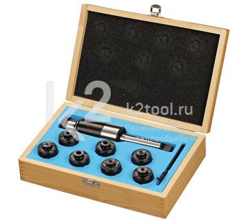 Резьбонарезной набор в кейсе: патрон с хвостовиком КМ3 и головки предохранительные М3, M4, М5, М6, M8, М10, М12