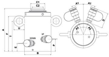 Домкраты Holmatro HLC двойного действия с блокировочной гайкой и гидравлическим возвратом - размеры