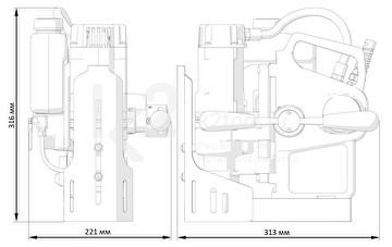 Магнитный сверлильный станок МС-36 Авто - габариты