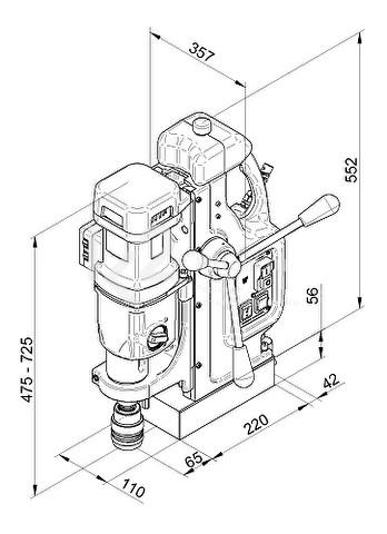 Автоматический магнитный сверлильный станок BDS MAB-825 V - габариты