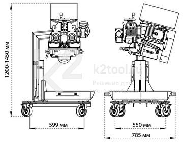 Габариты автоматического кромкореза Compact EDGE Reverse