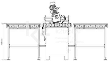 Габариты дополнительного стола с регулируемыми упорами для кромкореза NKO UZ-30
