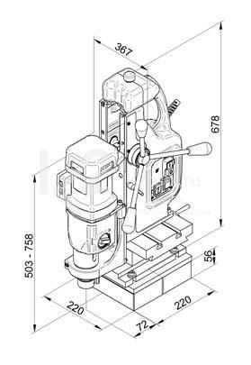 Чертеж магнитного сверлильного станка BDS MAB-825 KTS