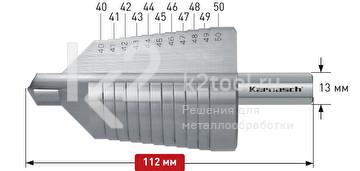 Ступенчатое сверло с прямой кромкой (2 зубца) Karnasch, арт. 21.3023