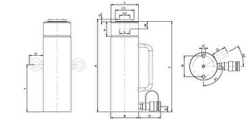 Домкраты многофункциональные Holmatro с пружинным возвратом (HGC) - размеры