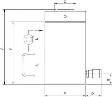 Домкраты с блокировочной гайкой и пружинным возвратом (HJ) - размеры