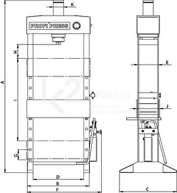 Гидравлический пресс RHTC 30 TON HF2 - схема