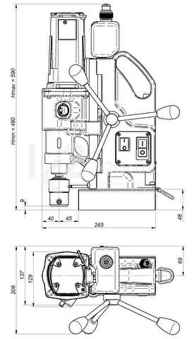 Магнитный сверлильный станок МС-2 - габариты