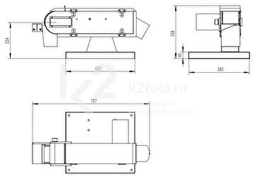 Габариты односкоростного ленточного шлифовального станка PASOVEC 100