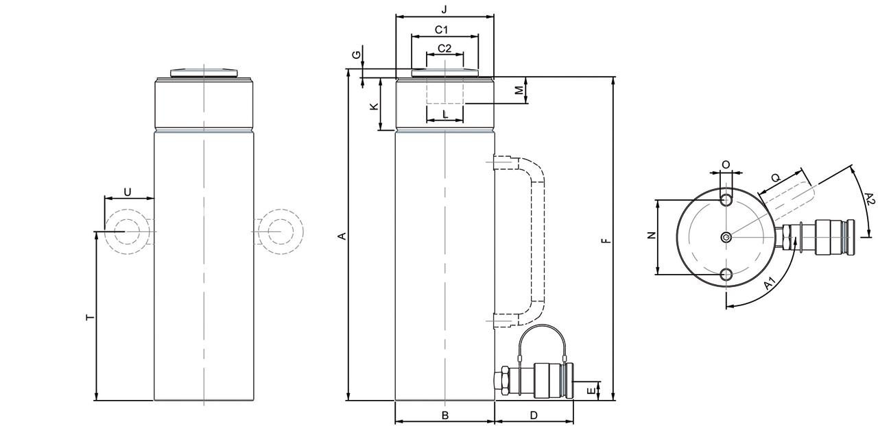 Схема многофункциональных домкратов Holmatro с пружинным возвратом
