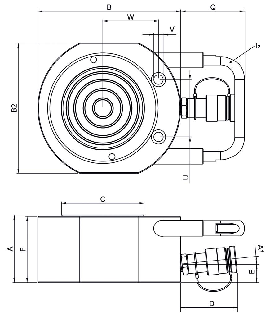 Схема плоских домкратов Holmatro с пружинным возвратом