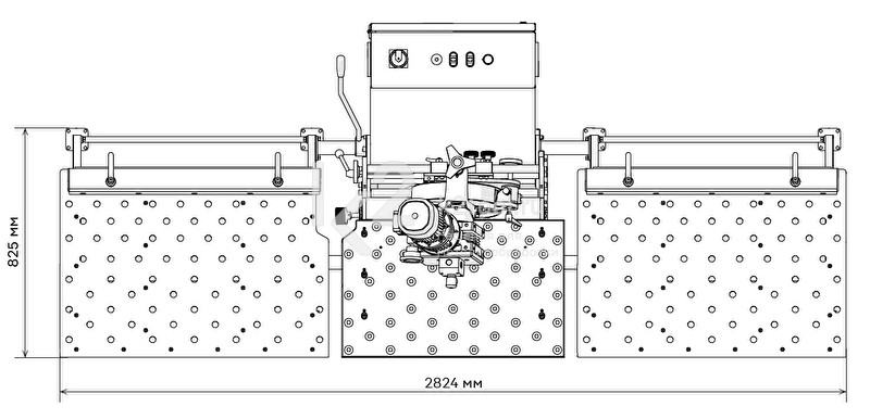 UZ-30 - Габариты входного и выходного стола с регулируемыми упорами