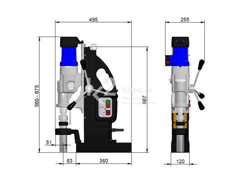 Размеры магнитного сверлильного станка BDS MAB-1300