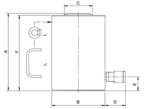 Домкраты с пружинным возвратом (HJ) - размеры