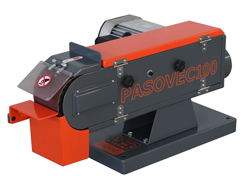 Односкоростной ленточный шлифовальный станок PASOVEC 100. Вид спереди