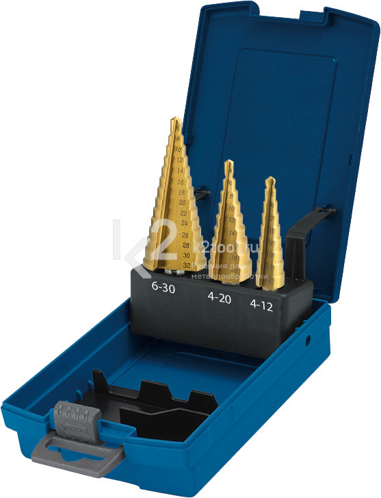 Набор ступенчатых сверл со спиралью с покрытием TiN-GOLD (3 зубца), Karnasch, арт. 21.3007