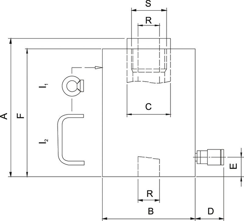 Домкраты с полым плунжером, пружинный возврат от 5 до 30 тонн (HHJ) - размеры