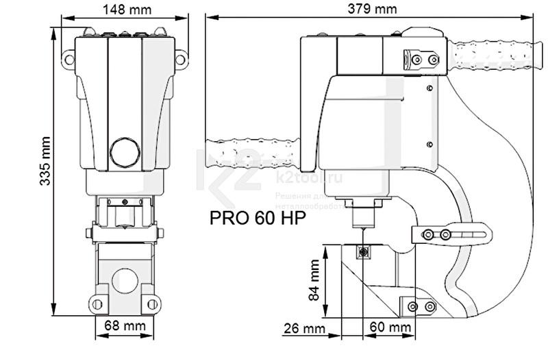 Габариты пресс-перфоратора гидравлического Pro 60 HP