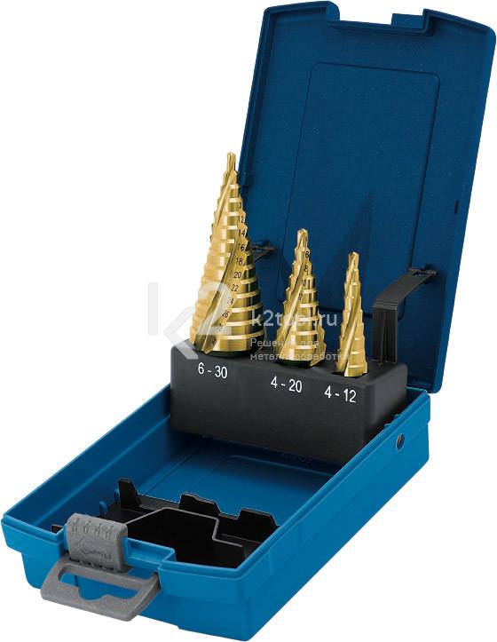 Набор ступенчатых сверл с покрытием TiN-GOLD, Karnasch, арт. 21.3007