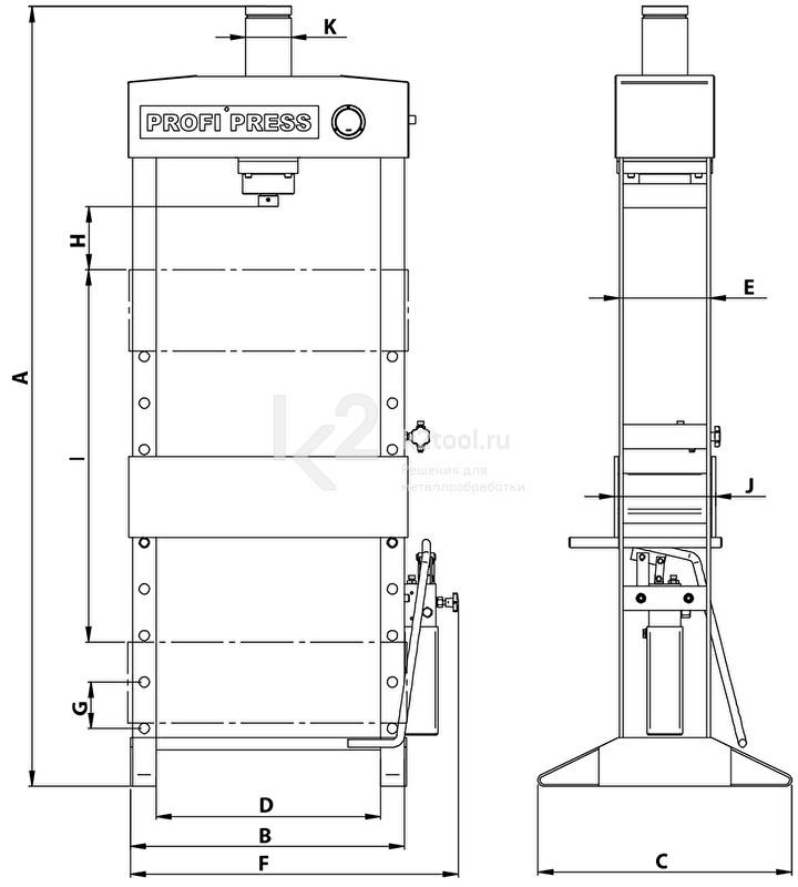 Гидравлический пресс 100 TON M/H-M/C-2 (D=1500) - схема