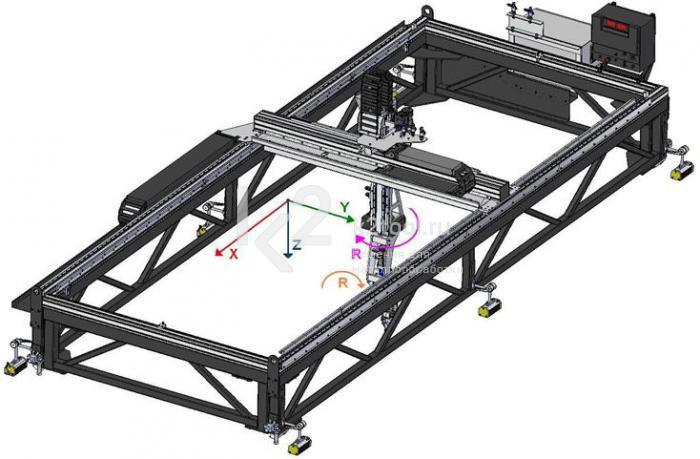 Схема пятиосевой мобильной машины для вырезки отверстий и вварки горловин в обечайки Promotech MCM 4000
