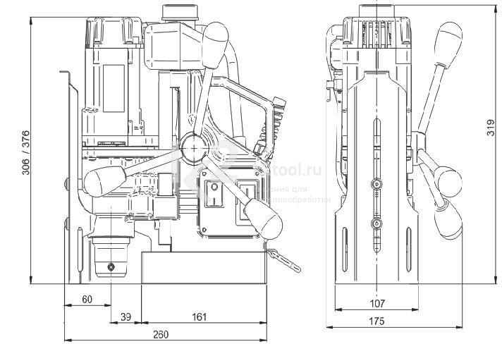 Магнитный сверлильный станок МС-36 - габариты