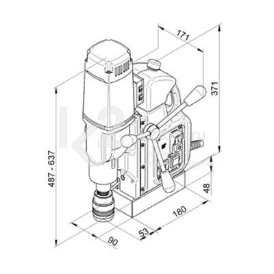 Размеры магнитного сверлильного станка BDS MAB-525