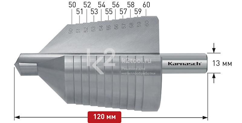 Ступенчатое сверло с прямой кромкой (2 зубца) Karnasch, арт. 21.3024