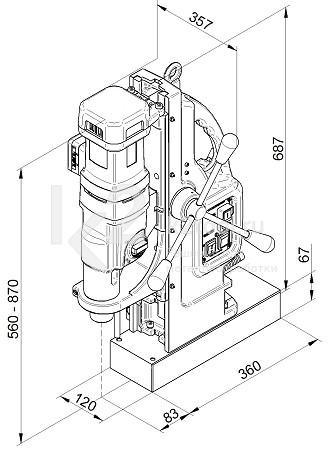 Габариты магнитного сверлильного станка BDS MAB-1300 V