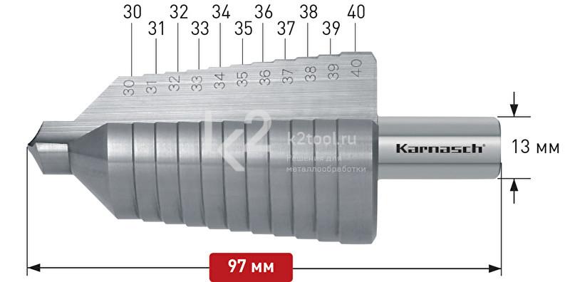 Ступенчатое сверло с прямой кромкой (2 зубца) Karnasch, арт. 21.3014