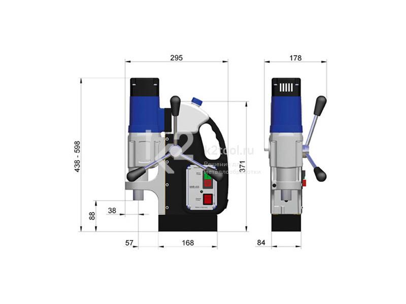 Размеры магнитного сверлильного станка BDS MAB-455