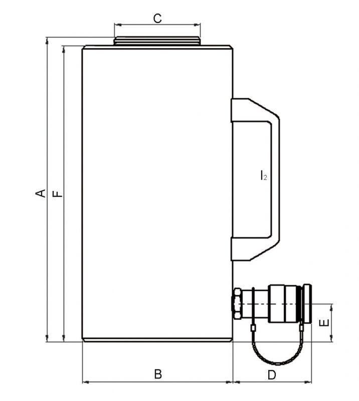 Алюминиевые домкраты с пружинным возвратом от 50 тонн (HAC) - размеры