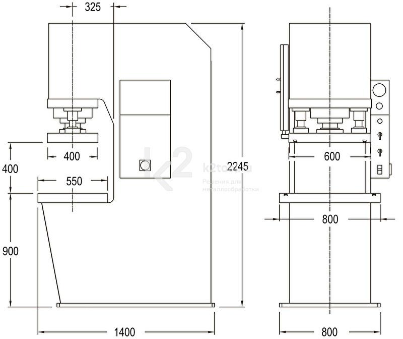 Гидравлический пресс с С-образной жесткой станиной RHTC PPCM-100 (CM-100) - схема