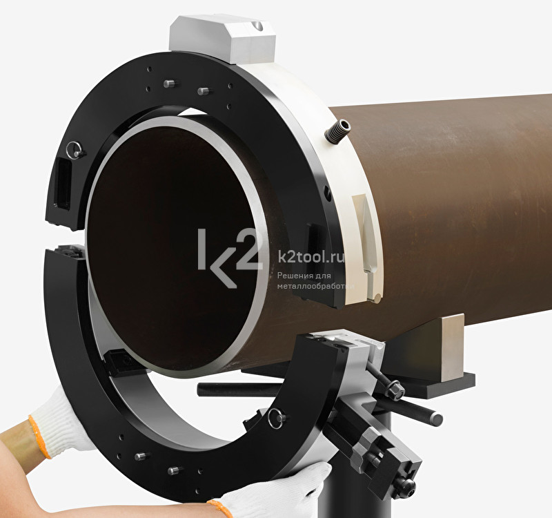 Монтаж разъёмного трубореза TVS-830 на трубе
