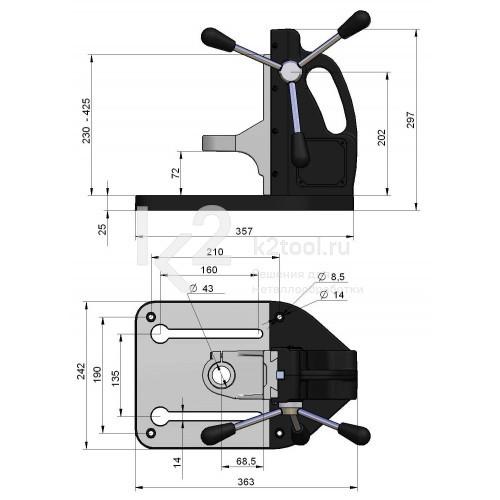 Габариты промышленной сверлильной стойки BDS ZBS-100