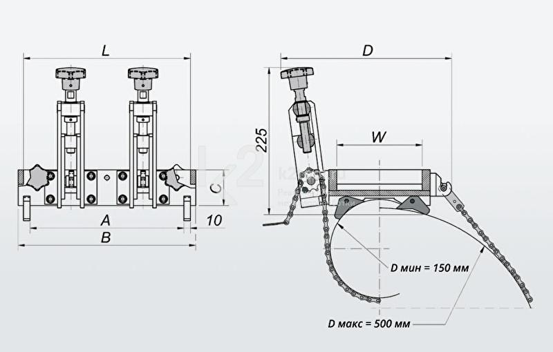 Схема, с габаритами, приспособления для крепления на трубах Promotech DMP 0501 (ПКТ-501).