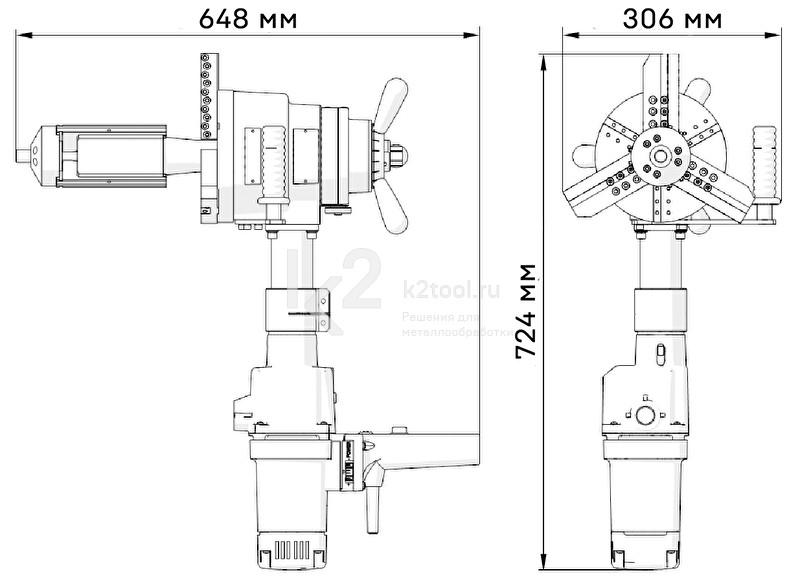 Машина для снятия фаски с труб ПРО 10 ПБ с электроприводом - габариты