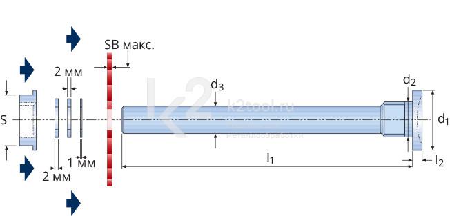 Габариты держателя пильных дисков и отрезных фрез Karnasch, задняя затяжка, арт. 5.6101