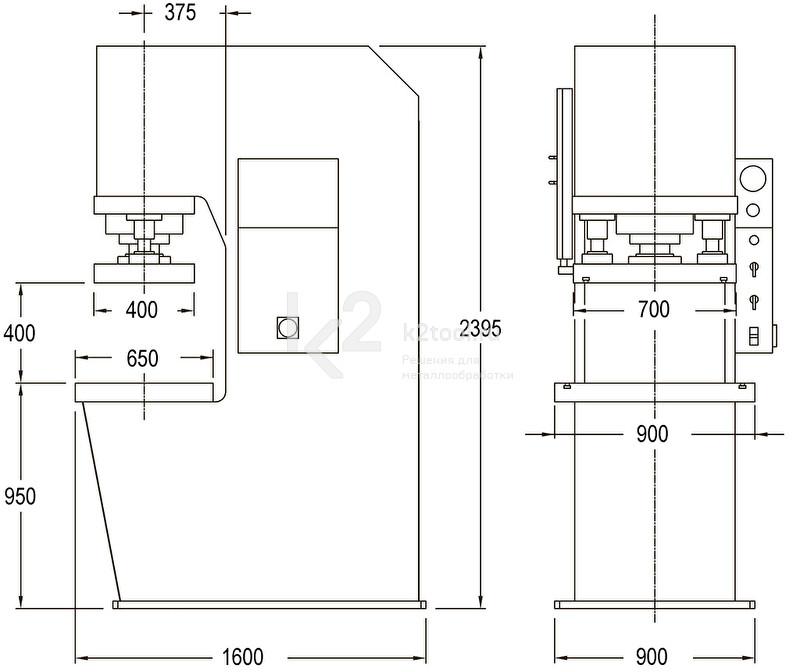 Гидравлический пресс с С-образной жесткой станиной RHTC CM-150 - схема