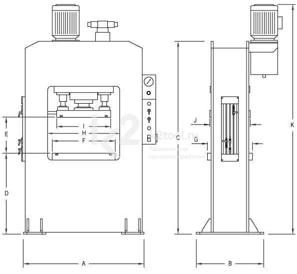 Гидравлический пресс с П-образной станиной RHTC RM-300 - схема