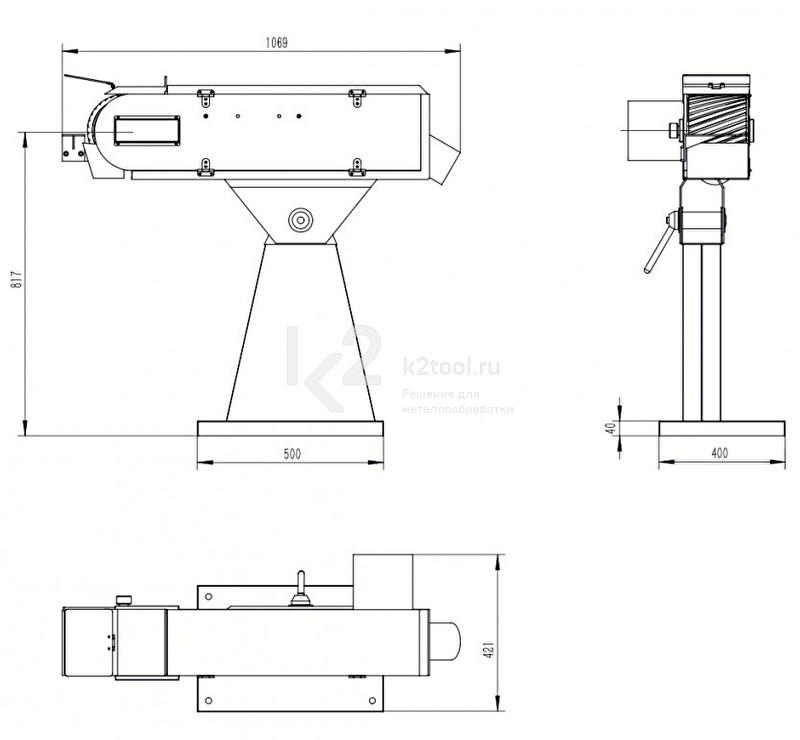 Габариты односкоростного ленточного шлифовального станка PASOVEC 150