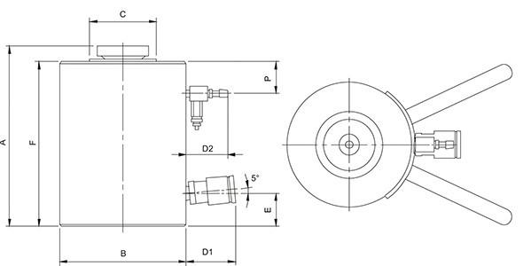 Алюминиевые домкраты с пневматическим возвратом (HLJ) - размеры