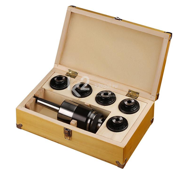 Резьбонарезной набор в кейсе: патрон с хвостовиком КМ3 и головки предохранительные М14, М16, М18-М20, М22, М24