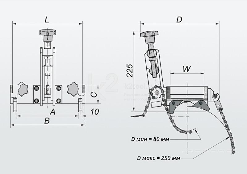 Схема, с габаритами, приспособления для крепления на трубах Promotech DMP 0250 (ПКТ-250)