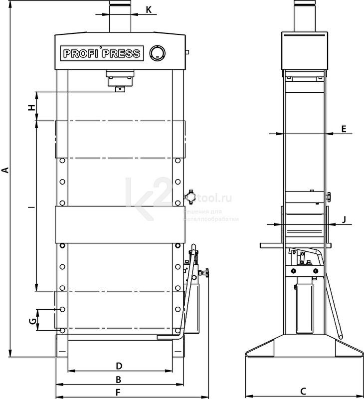 Гидравлический пресс RHTC 15 TON HF2 - схема