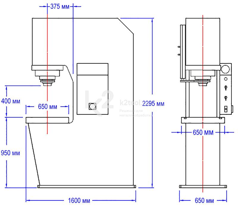 Гидравлический пресс с С-образной жесткой станиной RHTC CD-150 - схема